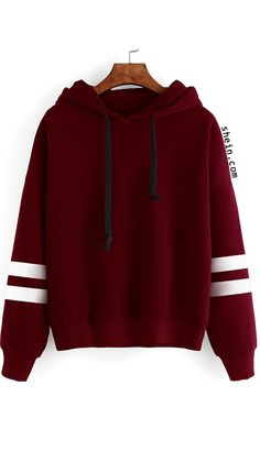 Keep vigor of youth in this Burgundy Drop Shoulder Varsity Striped Hooded Sweatshirt!