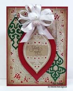 Christmas card designed by Heidi Blankenship using Christmas Miracle Ornaments and Christmas Holly Background