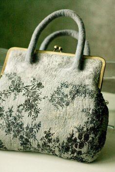 Felt wool nuno silk grey purse handbag 'Morning of monday'