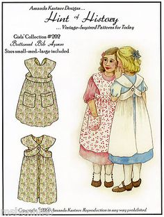 Girls' Buttoned Bib Apron Sewing Pattern s M L Hint of History Vintage Inspired | eBay