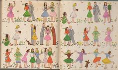 """From 1946, the endpapers from """"Your Manners Are Showing,"""" subtitled """"The Handbook of Teen Know-how."""" Seems times have changed somewhat!"""