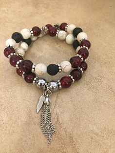 Diffuser Bracelet : Red & White Double Wrap Diffuser