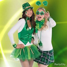 Create a quick & cute St. Pats party outfit with fun & fashion-friendly mix-and-match skirts, tutus, vests, hats, glasses, body art and more.