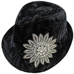 Black Velvet Rhinestone Jeweled Flower Fedora Hat (34 AUD) ❤ liked on Polyvore featuring accessories, hats, black, structured, wide fedora hat, brimmed hat, flower crown, rhinestone crowns and wide hat