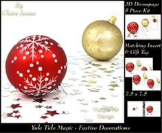 Yule Tide Magic   Festive Baubles   3D Decoupage kit   Insert   Gift Tag on Craftsuprint - View Now!