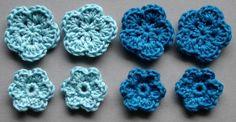 Häkelblumen, 2 Farben | Baumwolle, hellblau, stahlblau, 8 Stück