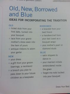 "Old, new, borrowed, & blue - the ""new"" could be your future daughter's (or daughter-in-law-to-be) ""old"" or ""borrowed""."