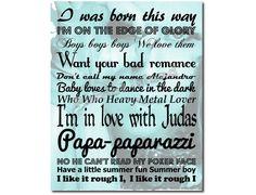 Lady GaGa Art Print Song Lyrics Typography by PatriotIslandDesigns, $14.00