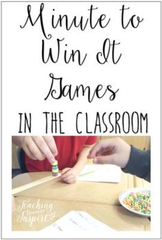 This article shares three ways to use minute to win it games in the classroom and online resources to find minute to win it games to use in the classroom.(Indoor Minutes To Win It Games) Games For Kids Classroom, School Classroom, Classroom Activities, Classroom Organization, Classroom Ideas, Classroom Management, Circus Activities, Seasonal Classrooms, Classroom Behavior