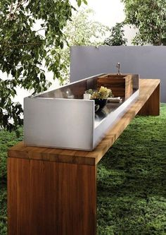 outdoor living modern outdoor kitchen Living room Oversized sliding doors allow for flexibility when it comes to indoor/outdoor entertaining. Outdoor Rooms, Outdoor Gardens, Outdoor Living, Outdoor Decor, Outdoor Baby, Outdoor Patios, Rustic Outdoor, Outdoor Cooking, Outdoor Entertaining