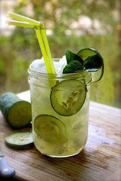 Cucumber Mojito - @Jill Meyers Schams - I will be making these for us!!  ½ cucumber pealed and diced, ¾ oz of fresh lemon juice, 2 spoons of sugar (or Splenda), 4 spearmint leaves, 2 oz of Ron de Venezuela Santa Teresa Claro, 4 slices of cucumber, Club soda