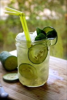 Cucumber Mojito - @Jill Meyers Schams - I will be making these for us!!  ½ cucumber pealed and diced, ¾ oz of fresh lemon juice, 2 spoons of sugar (or Splenda), 4 spearmint leaves, 2 oz of Ron de Venezuela Santa Teresa Claro, 4 slices of cucumber, Club soda