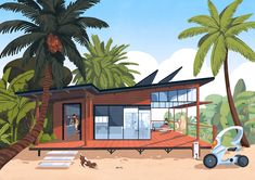"""Commission for Usbek & Rica and Caisse d'Epargne bank company for """"imagine the heritage of future"""". House Illustration, Graphic Illustration, Architecture Concept Drawings, Architecture Illustrations, Mid Century Modern Art, Children's Picture Books, Graphic Design Posters, Mail Art, Watercolor Art"""
