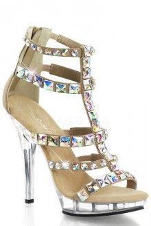 Taupe Jeweled T Strappy Heels Matte Nubuck