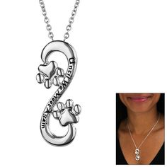 Eternally in your heart - this silver-tone infinity loop with two paw prints embossed with Until We Meet Again is a precious necklace that memorializes and reminds you of your abiding connection with your forever friend - never-ending
