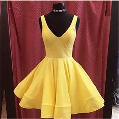 A Line Yellow Satin V Neck Elegant Homecoming Dresses Short Prom Dress Party Gowns Dresses Short, Hoco Dresses, Prom Party Dresses, Party Gowns, Sexy Dresses, Formal Dresses, Graduation Dresses, Occasion Dresses, Bridesmaid Dresses