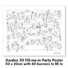 """Affiche de fête à colorier """"jardin"""""""