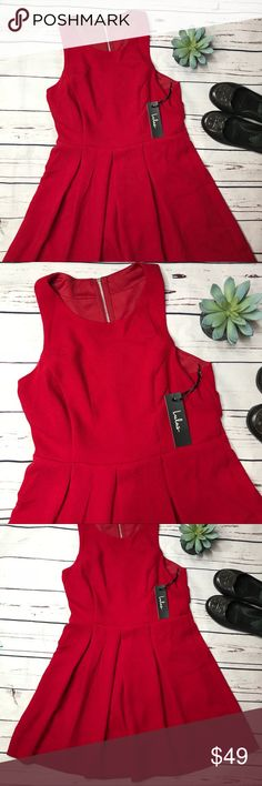"{Lulu's} sz L NWT red cage back fit n flare dress Lulu's NWT red cage back dress! The perfect little red dress for date night!   Measurements approximate:  Bust: 18""  Shoulder to hem: 33 1/2""  Fabric content: 100% polyester  Offers always welcome in my closet! Lulu's Dresses Mini"