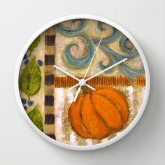 Fall Pumpkin Wall Clock