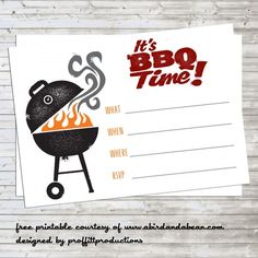 BBQ Party Invitation :: Free Printable - A Bird and a Bean