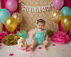 TWINKLE TWINKLE LITTLE STAR banner with mint & gold chevron pennants, pink lettering, and fringe to match. This Little Star cake smash session has me feeling golden! That little Ella is going places! Our fabric banners are hand crafted from a variety of fabrics, ribbons, and trims.