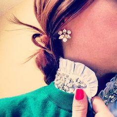 instagramstylesnoop: mrslairdypants(Shirt: J.CrewTilda rhinestone top; Earrings: J.Crew- old)