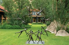 Big Sky Journal - Accented by carefully shaped stands of native Gambel oak, the round form of this sculpture provides an imaginative focal point in the informal lawn terrace of an Aspen residence.