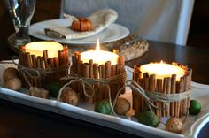 Cinnamon Stick Candles - using a glue gun, glue fresh cinnamon sticks to votive candles. Tie a bow with twine. When you burn the candles, your home will smell like fresh cinnamon!