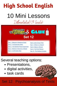 Students learn about psychological theories and are then encouraged to apply these to texts they are studying.  These ten mini lessons can also be used as lesson starters.  A PowerPoint presentation providing notes, differentiated activities and answers, is also available as digital activities for homework or classwork.  It can also be printed out as task cards.  Aimed at grades 8-12. Learning Resources, Student Learning, Bystander Effect, Stanford Prison Experiment, Maslow's Hierarchy Of Needs, Psychological Theories, Bell Ringers, High School English, Home Schooling