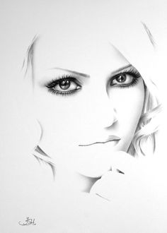 ART :: Artist Self Portrait Minimalism Fine Art Pencil Drawing - by Ileana Hunter