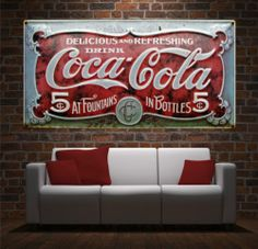 Wall Art Canvas Print Photo Old Retro Advertisment Coca-Cola Vintage-Unframed
