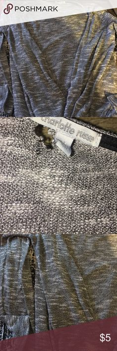 Long sleeve grey cardigan. Grey and white cardigan with a small tear by the label. Charlotte Russe Sweaters Cardigans