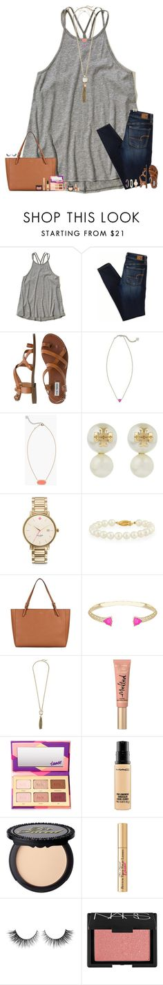 """""""~fun nights with friends are the best~"""" by maggie-prep ❤ liked on Polyvore featuring Hollister Co., American Eagle Outfitters, Steve Madden, Kendra Scott, Tory Burch, Kate Spade, Belpearl, Cole Haan, Too Faced Cosmetics and tarte"""