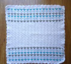 Crochet Baby blanket/Heart blanket/Nursery blanket/Baby