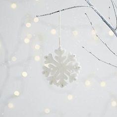 Felt Beaded Snowflake Decoration | The White Company