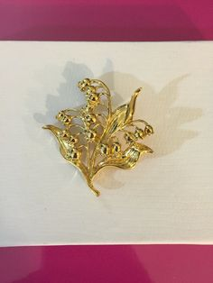 Gold Tone Lily of the Valley Bunch Brooch