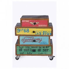 Retro bedroom bedside tables by Smithers Yellow Drawers, Vintage Wood Signs, Retro Bedrooms, Reclaimed Wood Signs, Wood Scraps, Bed Table, Bedroom Furniture Design, Bedside Cabinet, Mellow Yellow