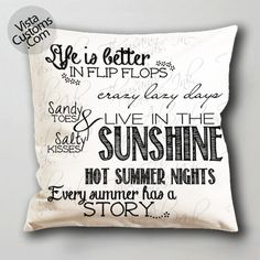summer quote pillow case, cushion cover ( 1 or 2 Side Print With Size 16, 18, 20, 26, 30, 36 inch )