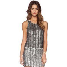 MLV Jaden Sequin Top Tops (€69) ❤ liked on Polyvore featuring tops, tanks, black sequin top, black top and sequin top