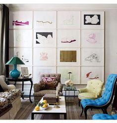 Gallery wall perfection by Jeffrey Bilhuber @jeffreybilhuber • • • • • • •  #art…