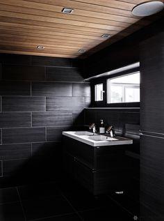 betonitalo-photo-krista-keltanen-12 Modern Rustic, Interior And Exterior, Villa, Cabin, Contemporary, Mirror, Bathroom, House, Inspiration