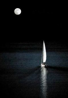 Wallpaper of Boat and yacht sailing at ocean sea Moon Photography, Amazing Photography, Sailboat Painting, Boat Art, Moon Pictures, Beautiful Moon, Jolie Photo, Black Paper, Painting Inspiration