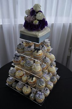 Lilac, pale grey and silver wedding cupcakes | Flickr - Photo Sharing!