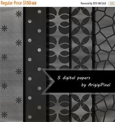 ON SALE 50 % OFF chalk black white digital collage sheet, 5 patterned scrapbooking paper, stained glass, polka dot, geometric circle, instan