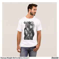 Fantasy Knight Girl in Ink T-Shirt