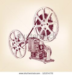 old film projector hand drawn vector llustration