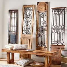 Our Vintage Gates artwork is crafted from generously distressed wood and metal. The rustic wooden frames and inset finials resemble found artifacts that are sure to complement most any decor. Vintage Doors, Antique Doors, Old Doors, Antique Metal, Entry Doors, Entrance, Garden Mirrors, Wrought Iron Decor, Mirror Wall Art