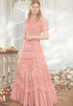 NEW SEASON. The Wild Rose Ruffle Gown in Sun Blush. The ultimate fashion statement of the season. Stunning Dresses, Beautiful Gowns, Elegant Gowns, Modest Fashion, Fashion Dresses, Ladies Fashion, Sequin Gown, Mesh Dress, Dress Collection