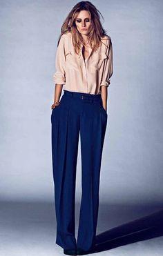blue pants beige blouse
