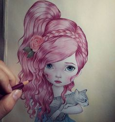 "Ready to finish colouring ""Miss Clare"" drawing hair is one of the most effective ways to relax for me. it works always. When theres trouble in my mind I always find comfort with these little girls ♥♥ they make me happy  #drawing #guerra #raulguerra #coloredpencils"